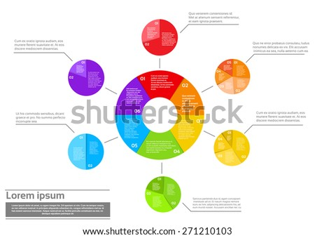 Finance Pie Diagram Infographic Document with Financial Business Page Graph Set Vector Illustration - stock vector