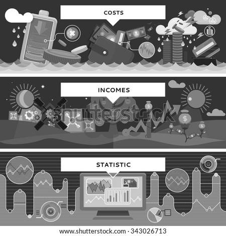 Finance statistic costs and incomes. Money and business, profit and investment, growth cash, banking currency, pay and market, bookkeeping report, accounting and credit. Black and white color - stock vector