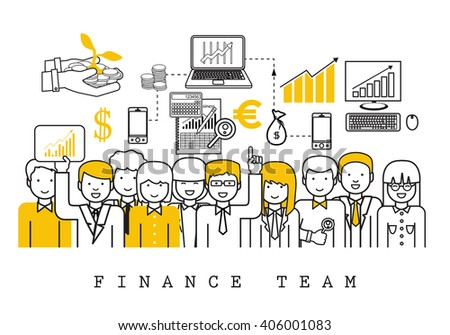 Finance Team-On White Background-Vector Illustration, Graphic Design.Business Content For Web,Websites,Magazine Page,Print,Presentation Templates And Promotional Materials.Businesspeople Thin Line - stock vector