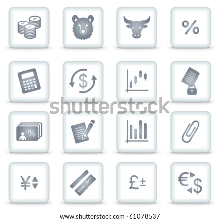 Finance vector web icons, white square buttons - stock vector