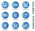 Finance web icons set 1, blue glossy circle buttons - stock vector