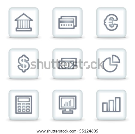 Finance web icons set 1, white square buttons - stock vector