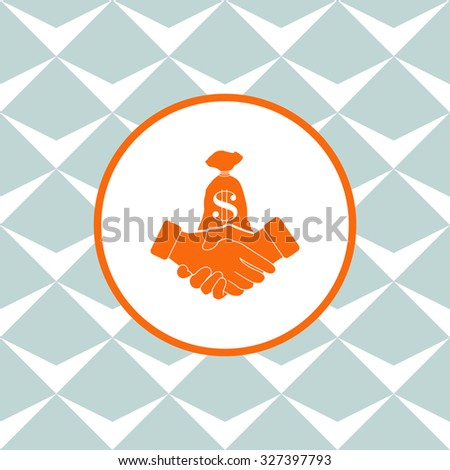 Financial agreement vector icon. Seamless background with geometric design. - stock vector