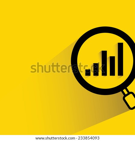 financial analysis, business analysis concept, magnifier glass with bar graph on yellow background, flat and shadow theme - stock vector