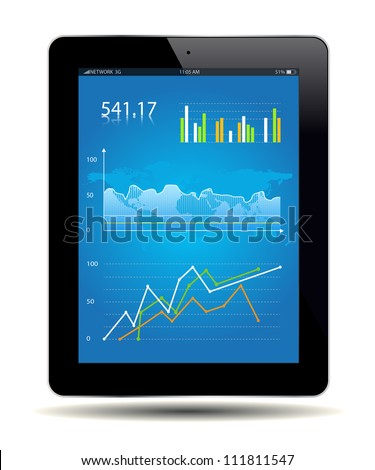 Financial Analysis data on a tablet. Vector file. - stock vector