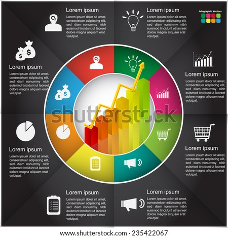 Financial and Business Infographic, Graph/Chart Icon and Text Information on Black Background Design. Workflow/Element Layout Design. Vector Illustration. - stock vector