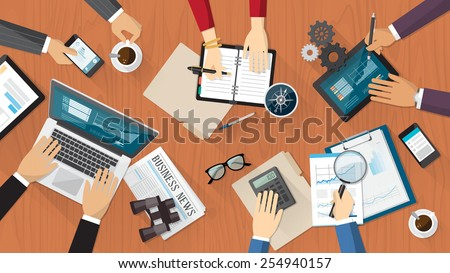Financial and business teamwork with business people working on a desk - stock vector