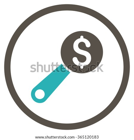 Financial Audit vector icon. Style is bicolor flat circled symbol, grey and cyan colors, rounded angles, white background. - stock vector