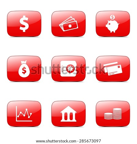 Financial Banking Square Vector Red Icon Design Set - stock vector