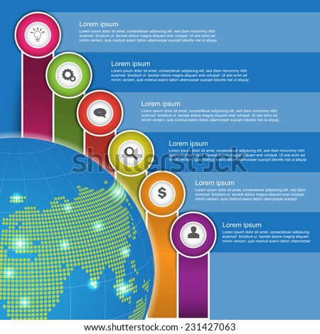 Financial/Business Infographic, Business Diagrams, World globe With Icon and Text Information Design. Blue Background, Workflow Layout & 6 Step Process Diagram. Vector Illustration. - stock vector