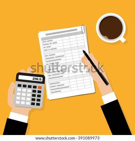 Financial calculations. Working process with cup of coffee. Top view - stock vector