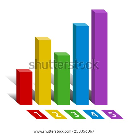 Financial Chart or Graph or Graphic color with digit symbol icon isolated on white background. Vector illustration - stock vector