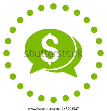 Financial Chat vector icon. Style is flat circled symbol, eco green color, rounded angles, white background. - stock vector