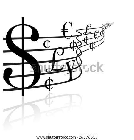 Financial concept - money music - stock vector
