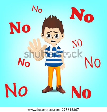 Financial Crisis in Greece, Greece man character showing his denial and say NO for help - stock vector