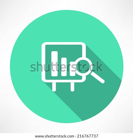 Financial graph with a magnifying glass icon - stock vector