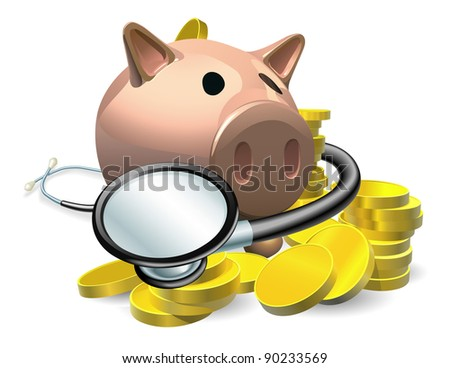 Financial health check concept. A piggy bank with coins and stethoscope wrapped round it. - stock vector