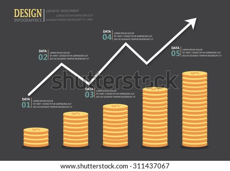 financial investment infographics  background,  growth of currency concept.  Can be used for business data, brochure template, step option, layout, banner and web design. Vector illustration - stock vector