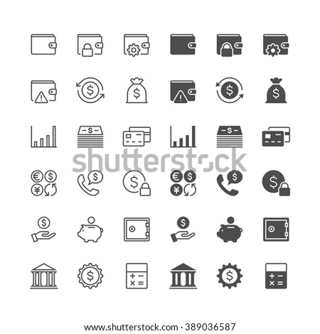 Financial management thin icons, included normal and enable state. - stock vector