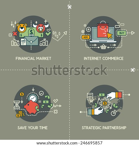 Financial market, ecommerce, save your time, partnership - stock vector