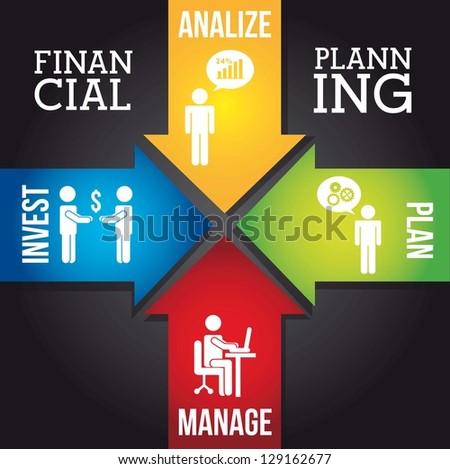 financial planning illustration over black background. vector - stock vector