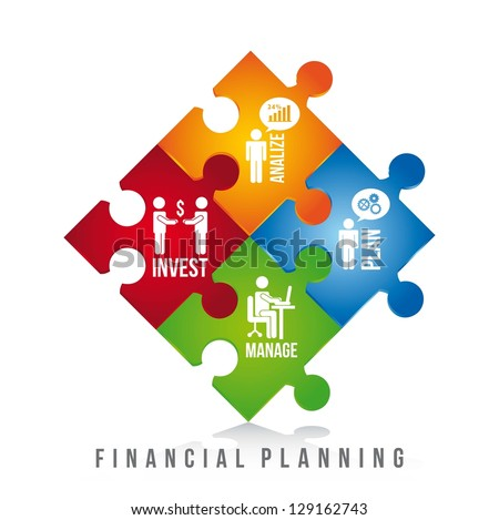 financial planning illustration over white background. vector - stock vector