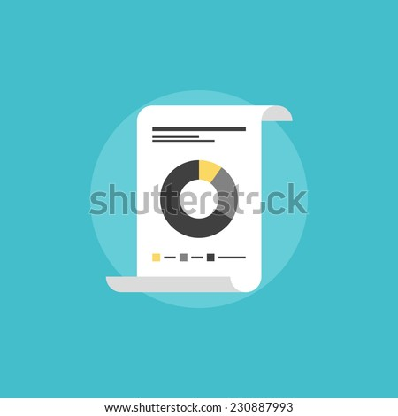 Financial report document paper with market data analytics, corporate statement annual analysis presentation. Flat icon modern design style vector illustration concept. - stock vector