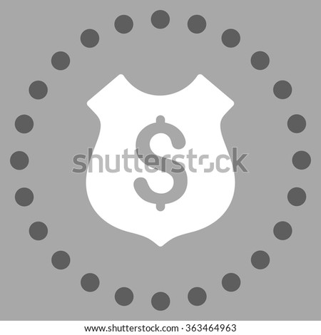 Financial Shield vector icon. Style is bicolor flat circled symbol, dark gray and white colors, rounded angles, silver background. - stock vector