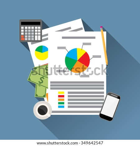 Financial Statement with chart and graph. calculator, money, smartphone and coffee. Vector illustration in flat design  for business concept. - stock vector
