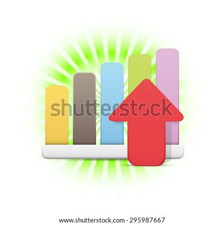 Financial Statistics Rising Icon - stock vector