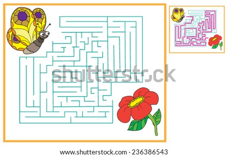 Find a way for the butterfly to get to flowers, maze game - stock vector