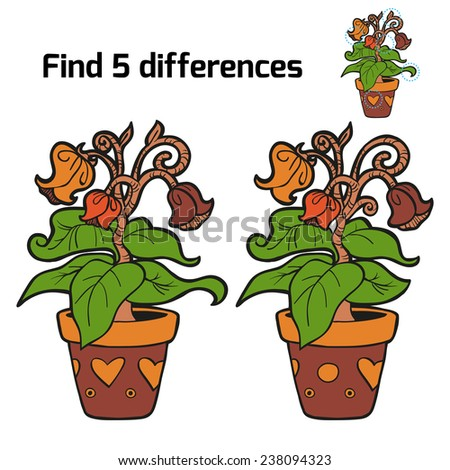 Find 5 differences (flowers) - stock vector