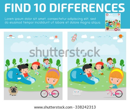 find differences,Game for kids ,find differences,Brain games, children game, Educational Game for Preschool Children, Vector Illustration, kids at playground,  kids at playground. - stock vector