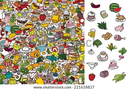 Find food, visual game. Solution in hidden layer! Illustration is in eps8 vector mode! Each elements are isolated and on separate layers. - stock vector