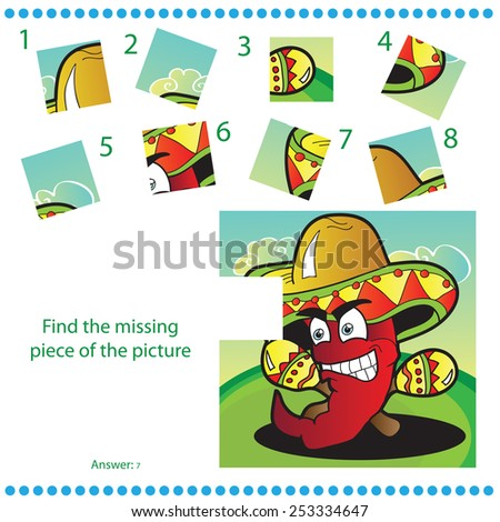 Find missing piece - Puzzle game for Children with funny pepper - stock vector