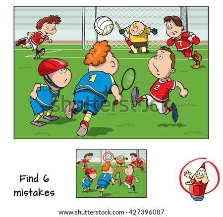 Find mistakes. Educational game for children. Vector illustration - stock vector