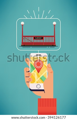 Find subway station near you. Nearby underground tube station vector illustration. Man using online mobile application to locate nearby subway system station on city plan map - stock vector