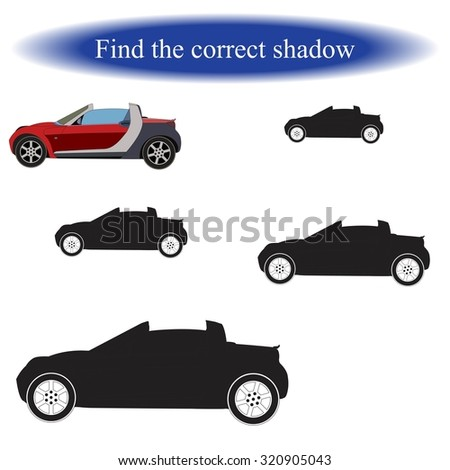 Find the correct shadow ( Car ). Vector illustration.  - stock vector