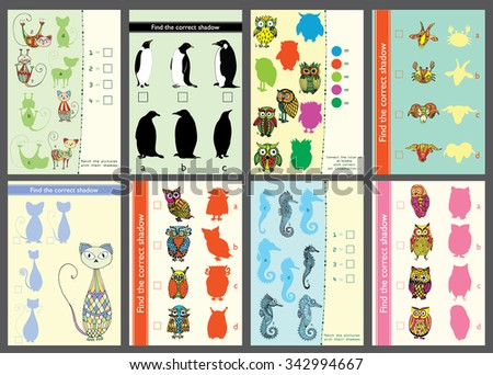 Find the correct shadow (owl). Match the pictures of cute vivid owls, penguins, cats, sea horses  to their shadows. - stock vector