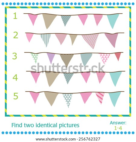 Find two identical pictures - vector Flags  - stock vector