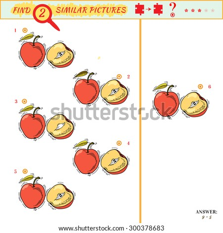 Find two similar pictures. Puzzle or picture riddle. Education matching game for preschool children. Cartoon fruit. Answer included - stock vector