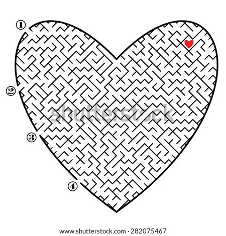Find way across labyrinth to the red heart. Four entrances and only one correct path. Vector illustration on white background. - stock vector