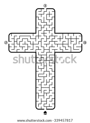 Find way to the home in labyrinth on theme Christian cross. 3 entrances and only one correct path. Vector illustration on white background. - stock vector