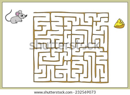 Find your way to the cheese to the mouse, maze game - stock vector