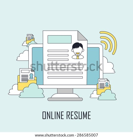 finding job concept: online resume in line style - stock vector