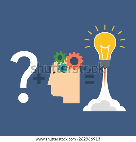 Finding solution, innovation concept. Flat design stylish. Isolated on color background - stock vector