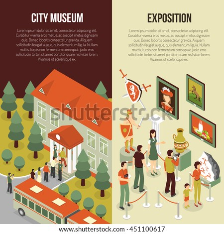 Fine art museum gallery painting exhibition 2 isometric vertical banners set with visitors abstract isolated vector illustration  - stock vector