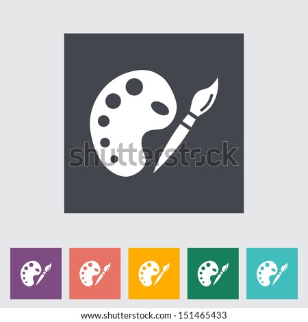 Fine Arts. Single flat icon. Vector illustration. - stock vector