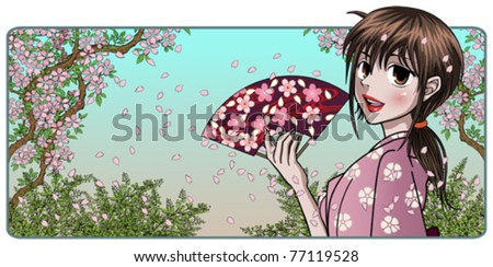 Fine Japanese Lady Holding Fan - Nature Background - stock vector