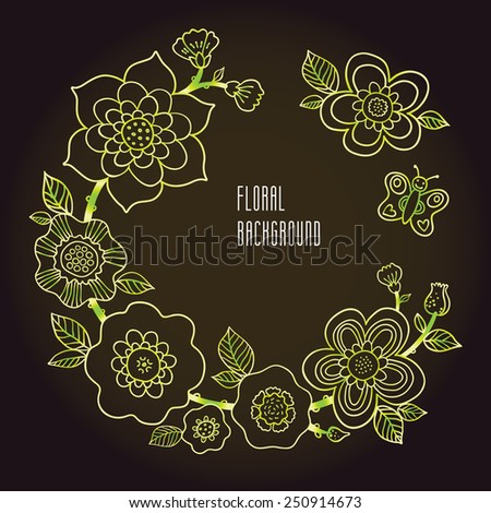 Fine summer wreath with butterfly. Line art floral garland on dark background. Green outline illustration. Decorative element for design, place for text. Lace pattern for invitations, greeting cards. - stock vector